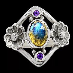 Jewelry - Labradorite- Madagascar & Amethyst-Africa 925 Ring